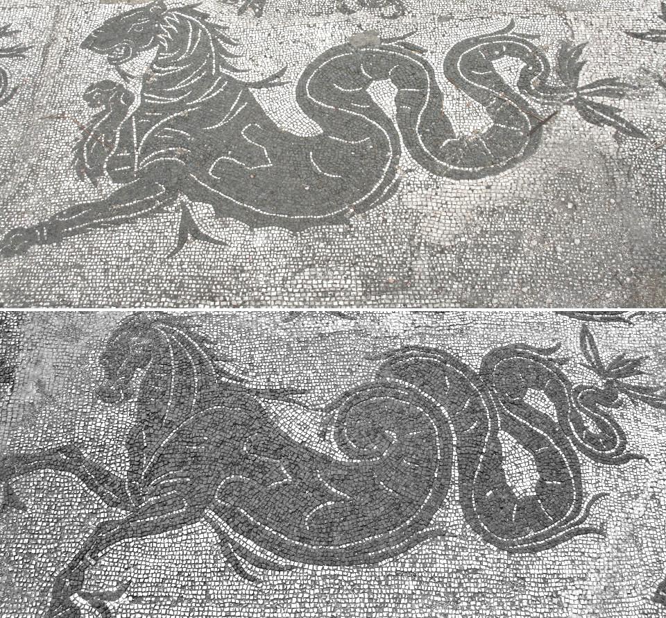 Particolari del mosaico del caldario