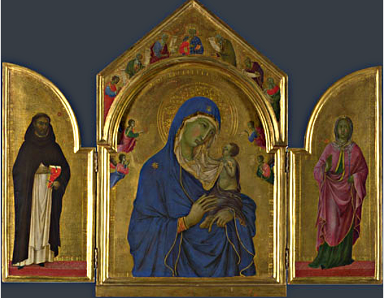 The Virgin and Child with Saints Dominic and Aurea, Duccio, about 1312-1315