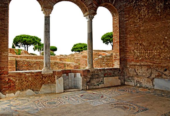 Domus del Ninfeo, Ostia antica [Foto (modificata) by Dennis Jarvis: (CC BY-SA 2.0)]