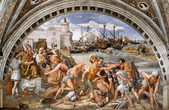 """L'affresco di Raffaello intitolato """"Battaglia di Ostia"""", 1514, Stanza dell'Incendio di Borgo (una delle Stanze Vaticane)"""