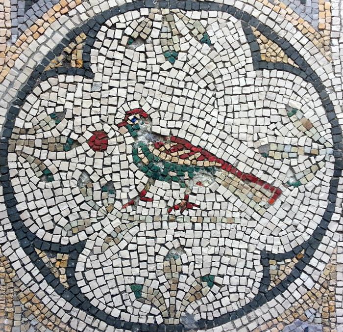 Particolare del mosaico della tomba di Antonia Achaice