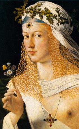 Ritratto di Flora. Dipinto di Bartolomeo Veneto.