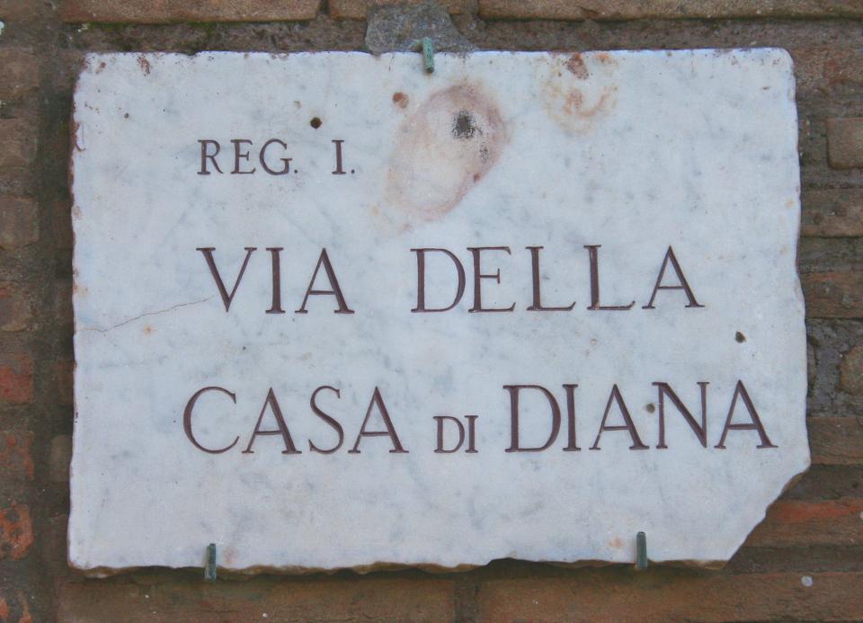 0653 Ostia - Via della Casa di Diana - Schild