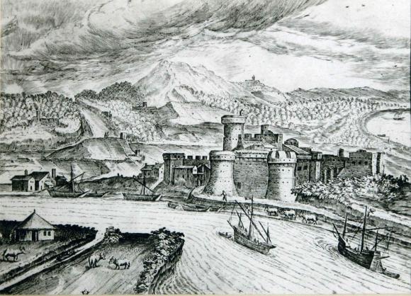 Stampa di H. van Cliven, XVI sec.: Il Tevere e l'attracco fluviale presso il castello di Ostia
