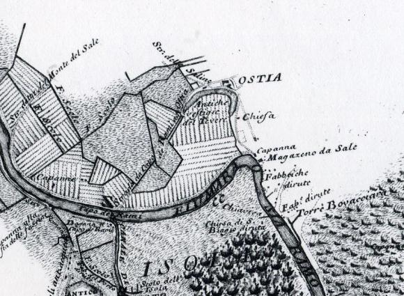 Pianta di A. Chiesa e B. Gambarini, 1744): Tevere, Strada delle Saline e Magazeno da Sale