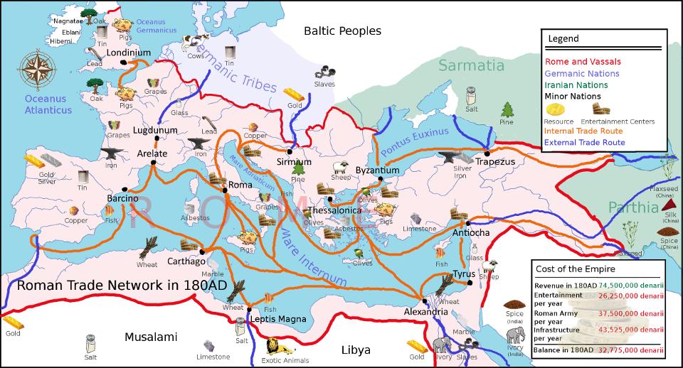 Mappa delle vie del commercio romano attorno alla fine del II secolo.