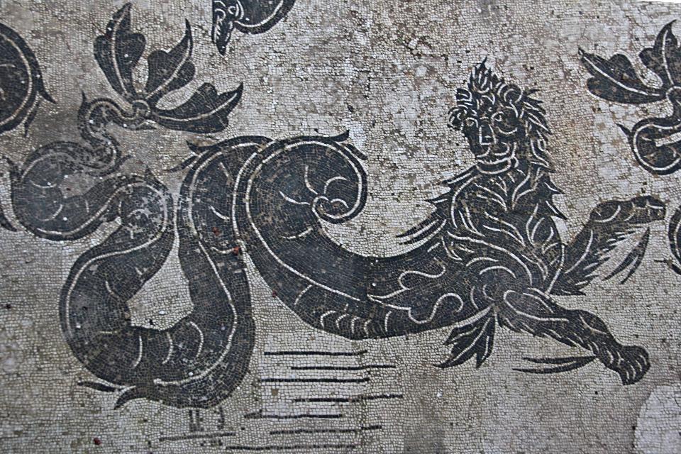 0209 Ostia - Terme di Nettuno - Mosiak - Neptun - Detail Seeungeheuer - Raum 4