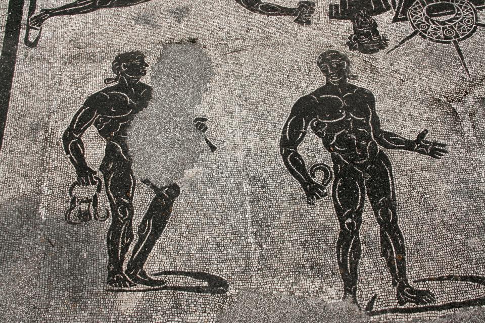 Particolare del mosaico del frigidario