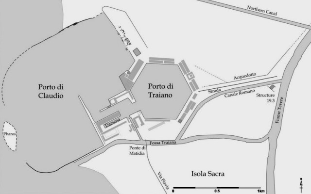 Ricostruzione della mappa dei porti di Claudio e Traiano